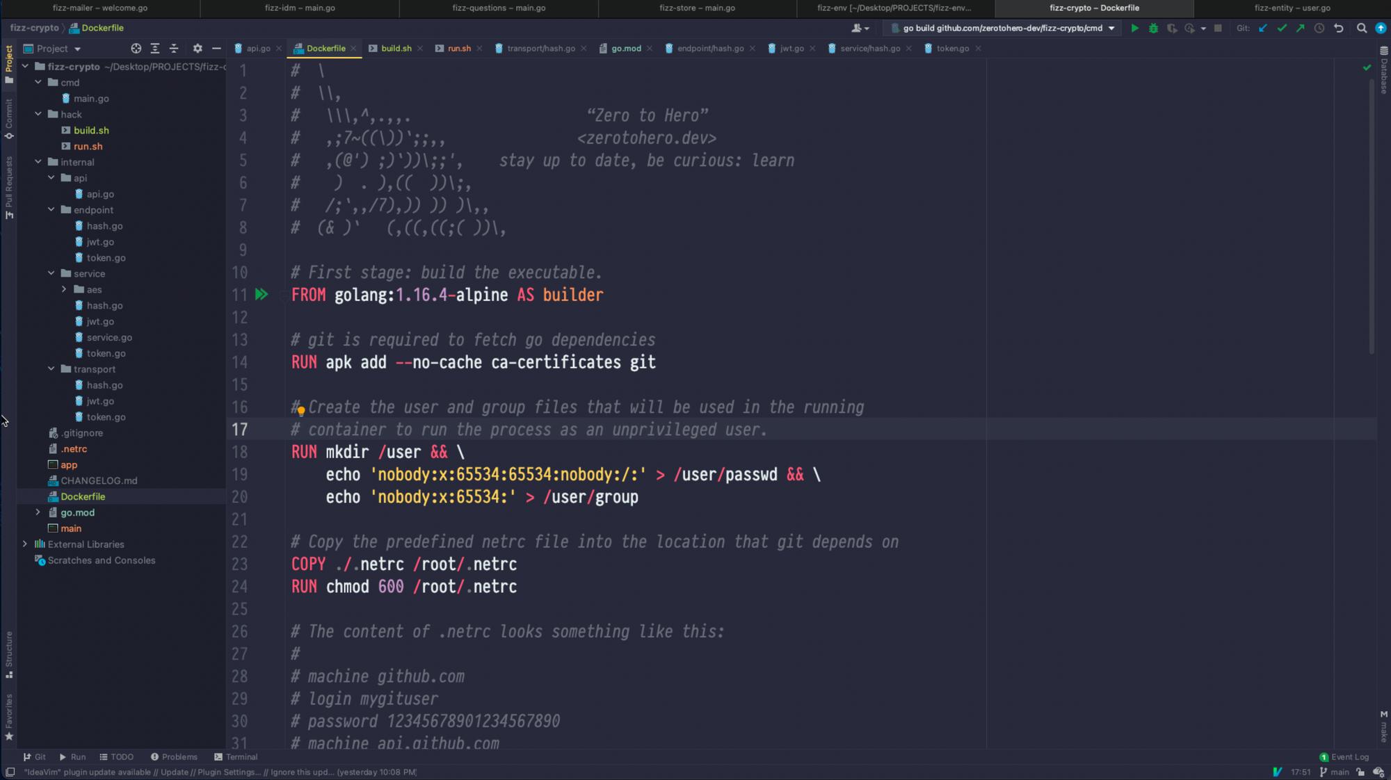 Creating a go Docker image.